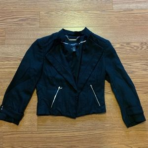 Cropped Linen-Blend Moto Blazer